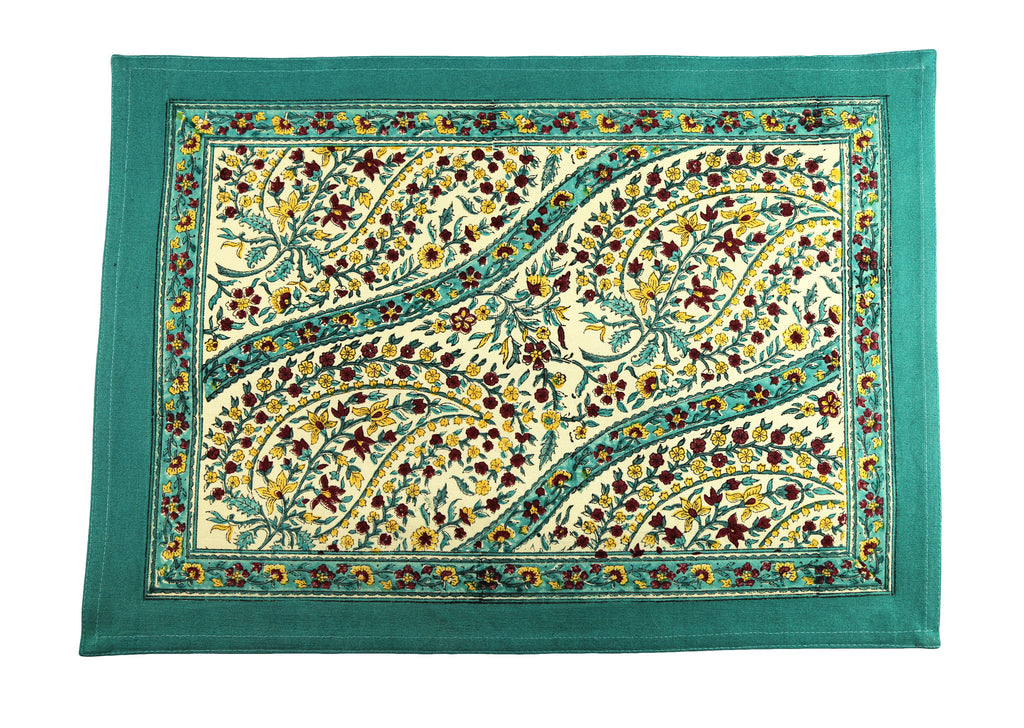 Turquoise Paisley Hand Block Printed Placemat Napkin Set of 4 - India