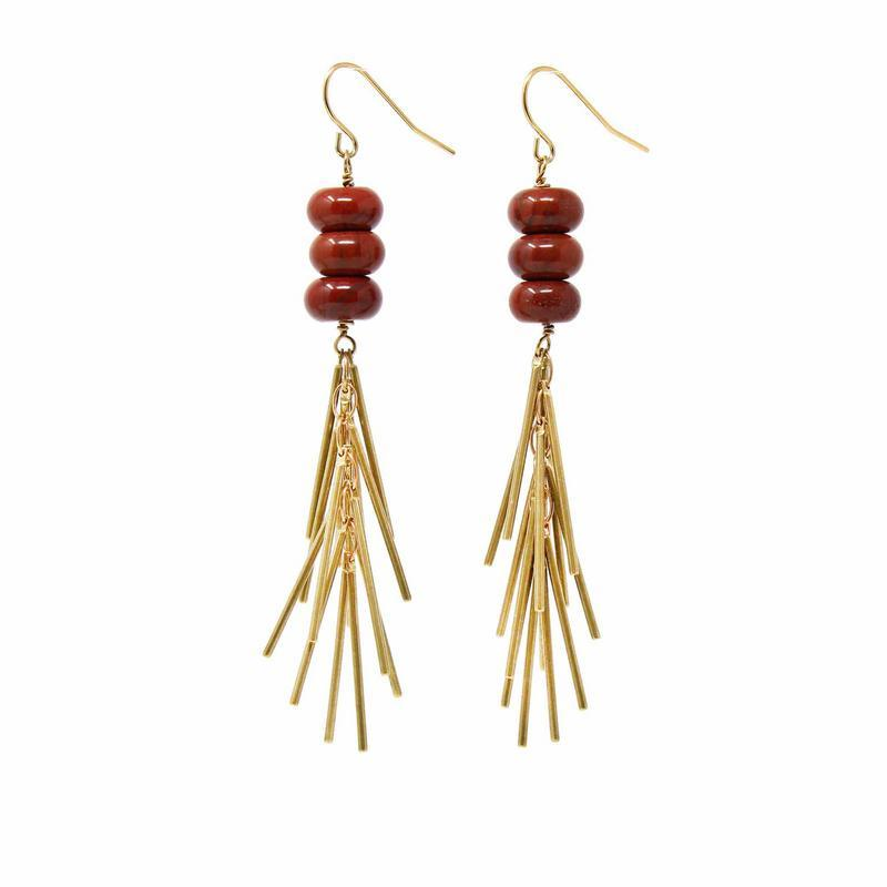 Earrings Red Jasper and Metal Fringe - Asia