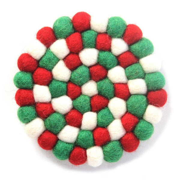 Hand Crafted Felt Ball Coasters from Nepal: 4-pack, White Christmas Multicolor - Nepal