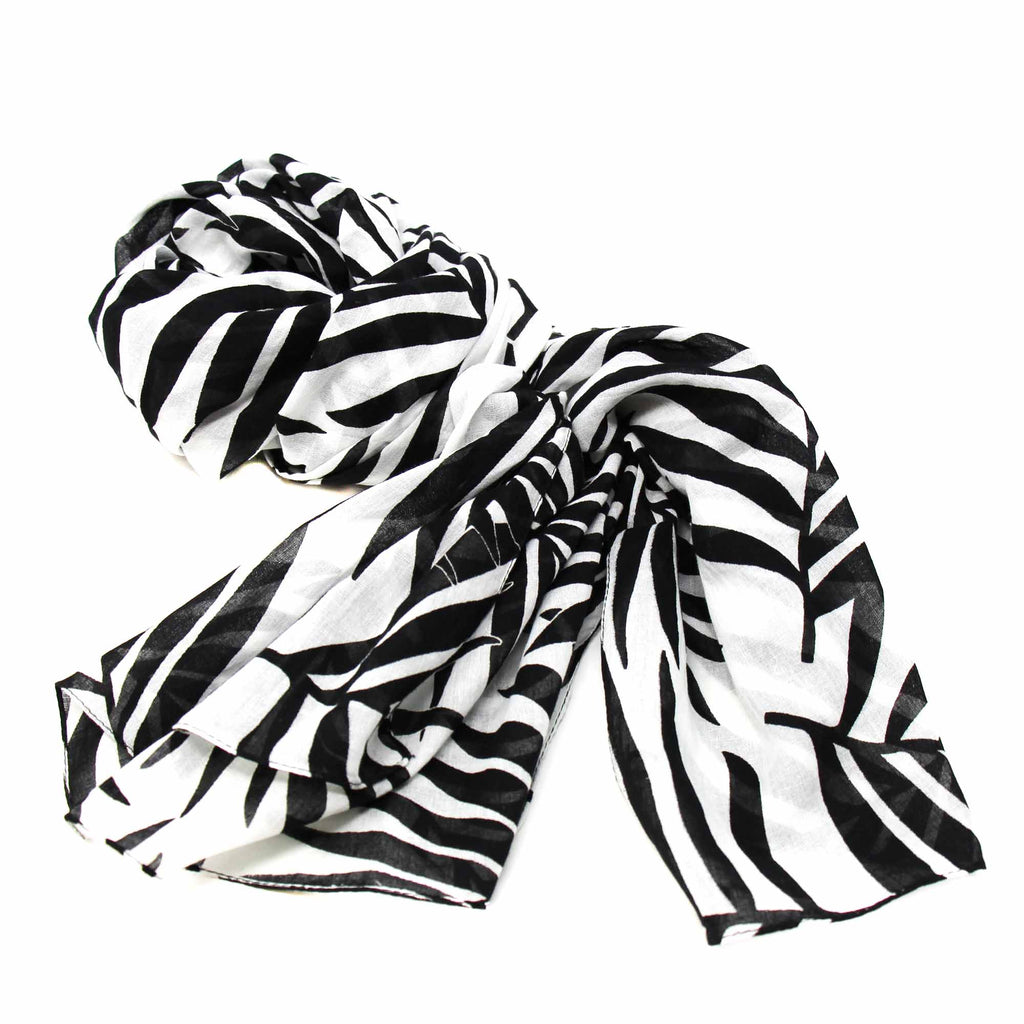 Hand-printed Cotton Scarf, Black & White Leaves Design India