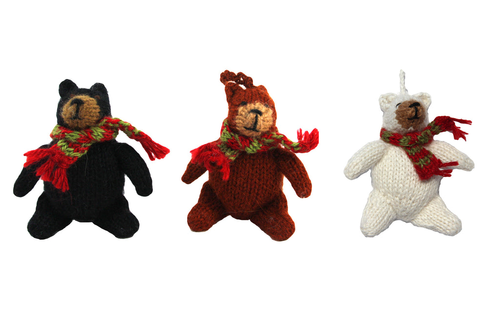 Alpaca Bear Ornament Set of 3 - Peru