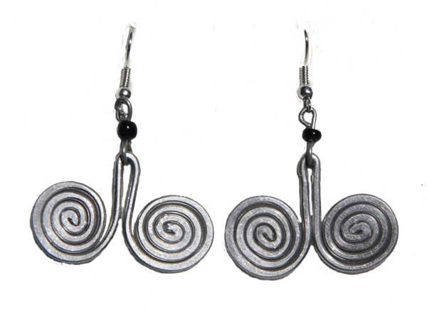 Silver Swirl Double J Earrings - Kenya