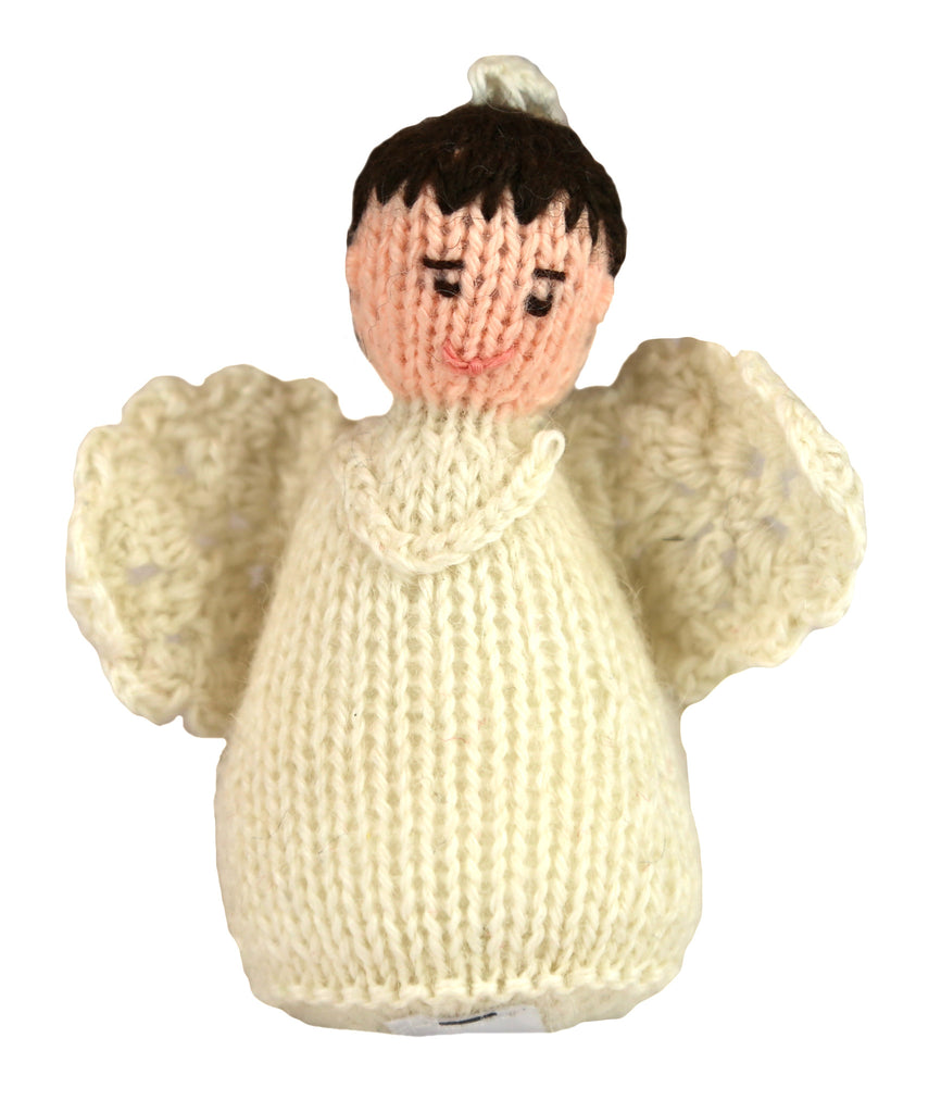 Alpaca Angel Boy Ornament - Brown Hair - Peru