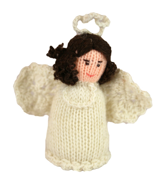 Alpaca Angel Girl Ornament - Brown Hair - Peru