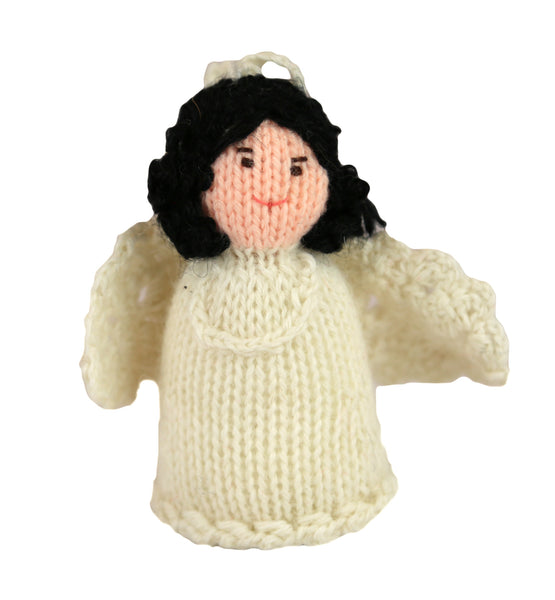 Alpaca Angel Girl Ornament - Black Hair - Peru