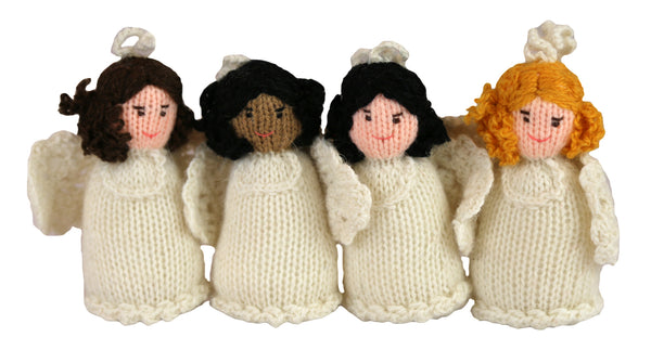 Alpaca Angel Girl Ornament Set of 4- Peru