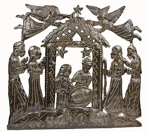 Angels Above Metal Wall Nativity - Haiti