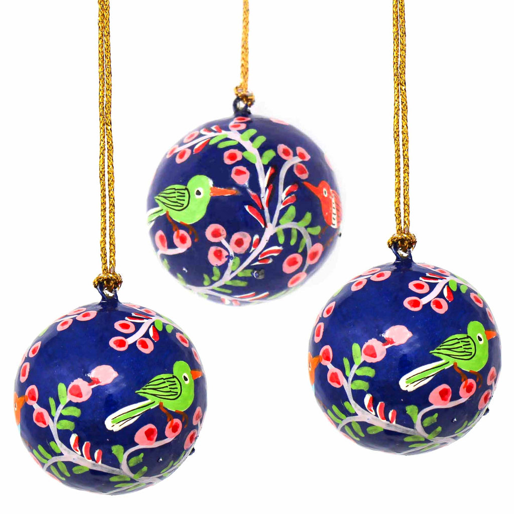 Handpainted Petite Ornament Bright Birds, 1-inch - Pack of 3 - India