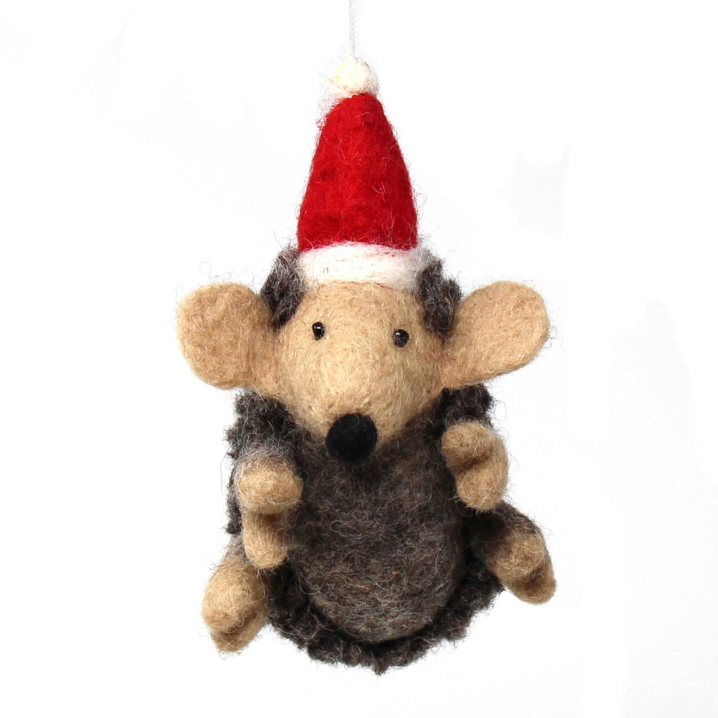 Hand Felted Christmas Ornament: Hedgehog - Nepal
