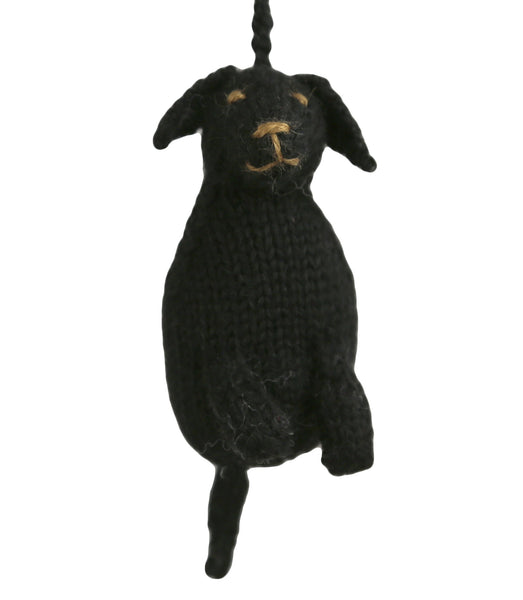 Alpaca Black Labrador Puppy Dog Ornament - Peru