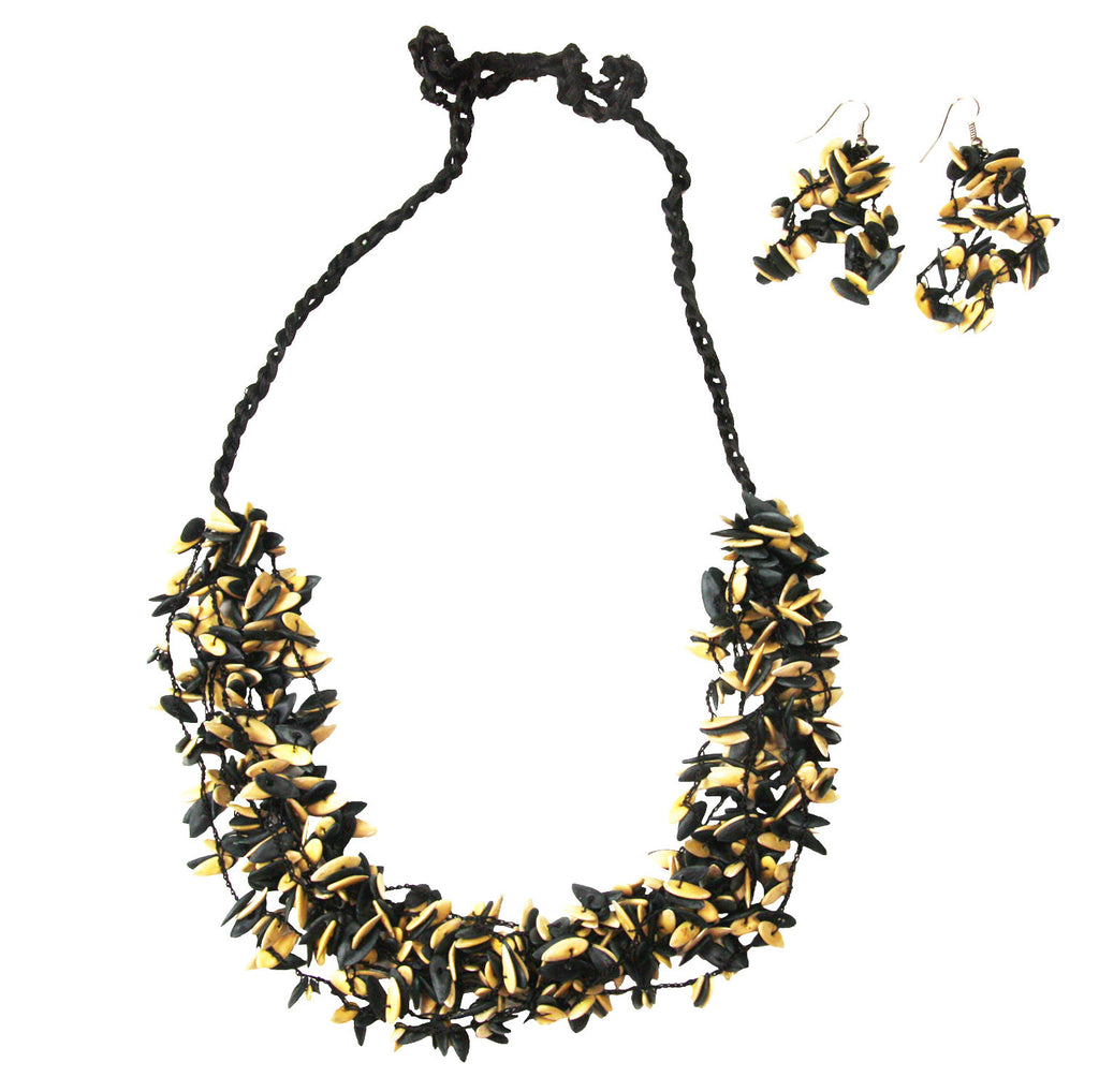 Black and White Short Melon Seed Necklace and Earring Set - Colombia