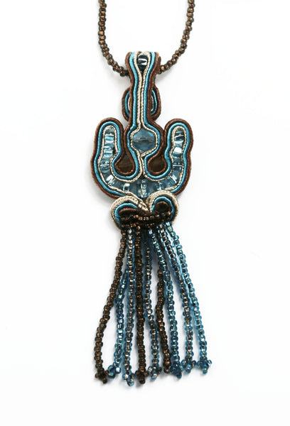Brown and Light Blue Beaded Mosaic Fringe Necklace - Guatemala