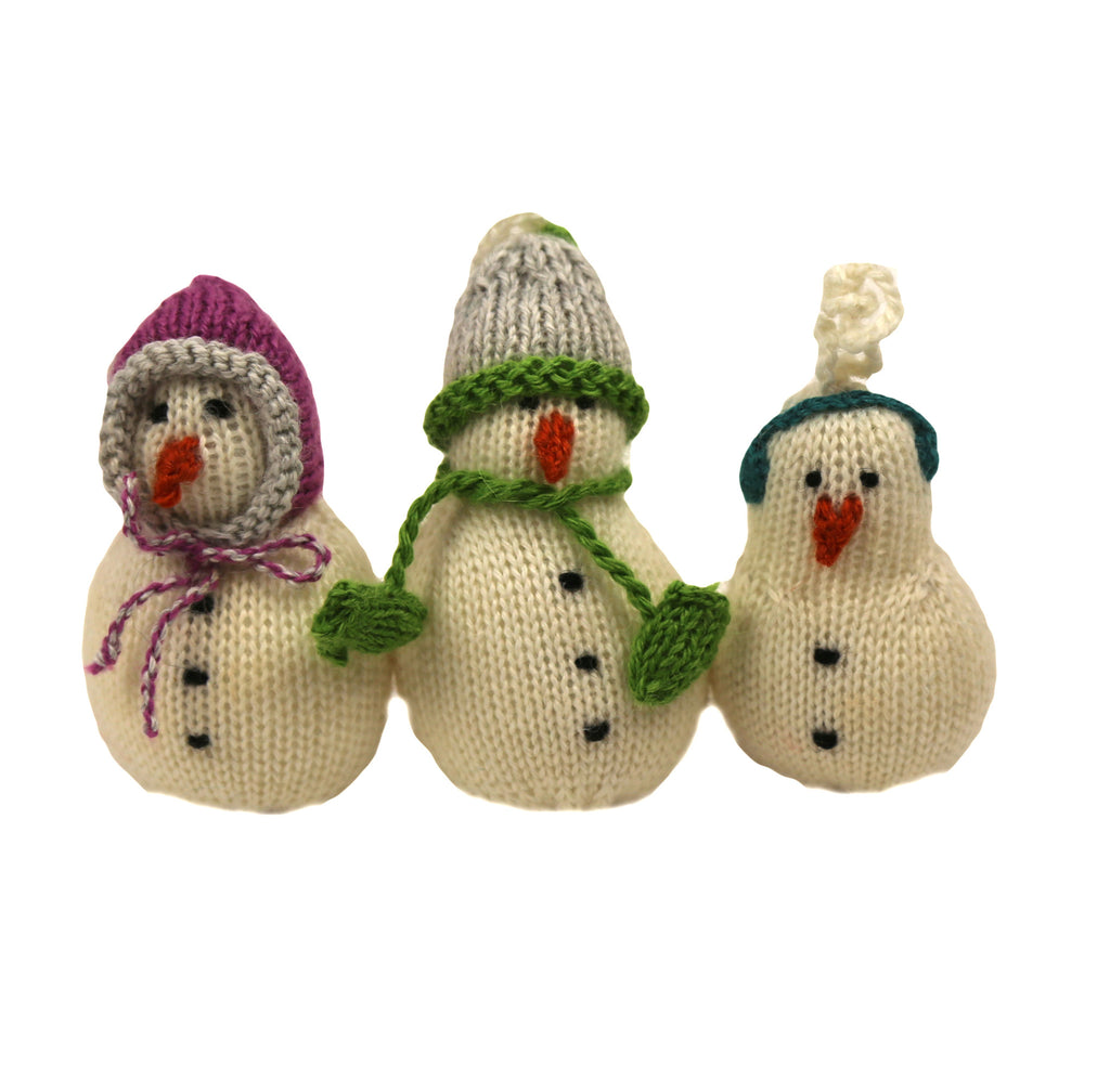 Bundles of Snow Trio - Set of 3 Alpaca Snowmen - Peru