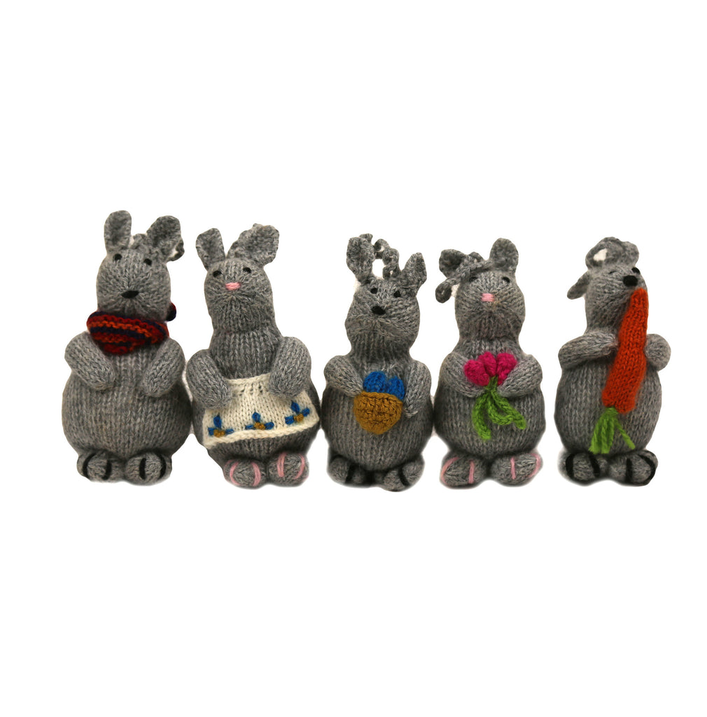 Alpaca Bunny Family Ornament Set of 5 - Peru