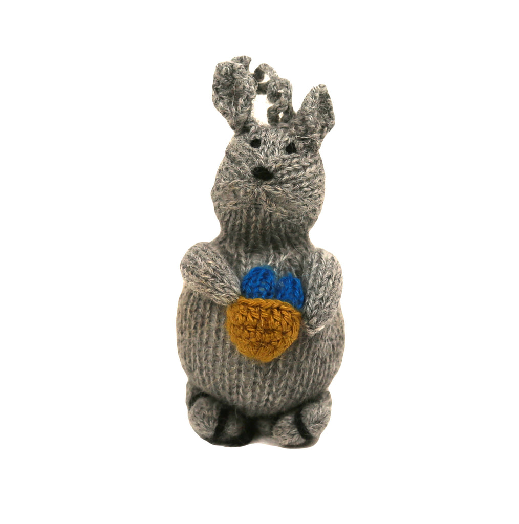 Alpaca Bunny Ornament with Egg Basket - Peru