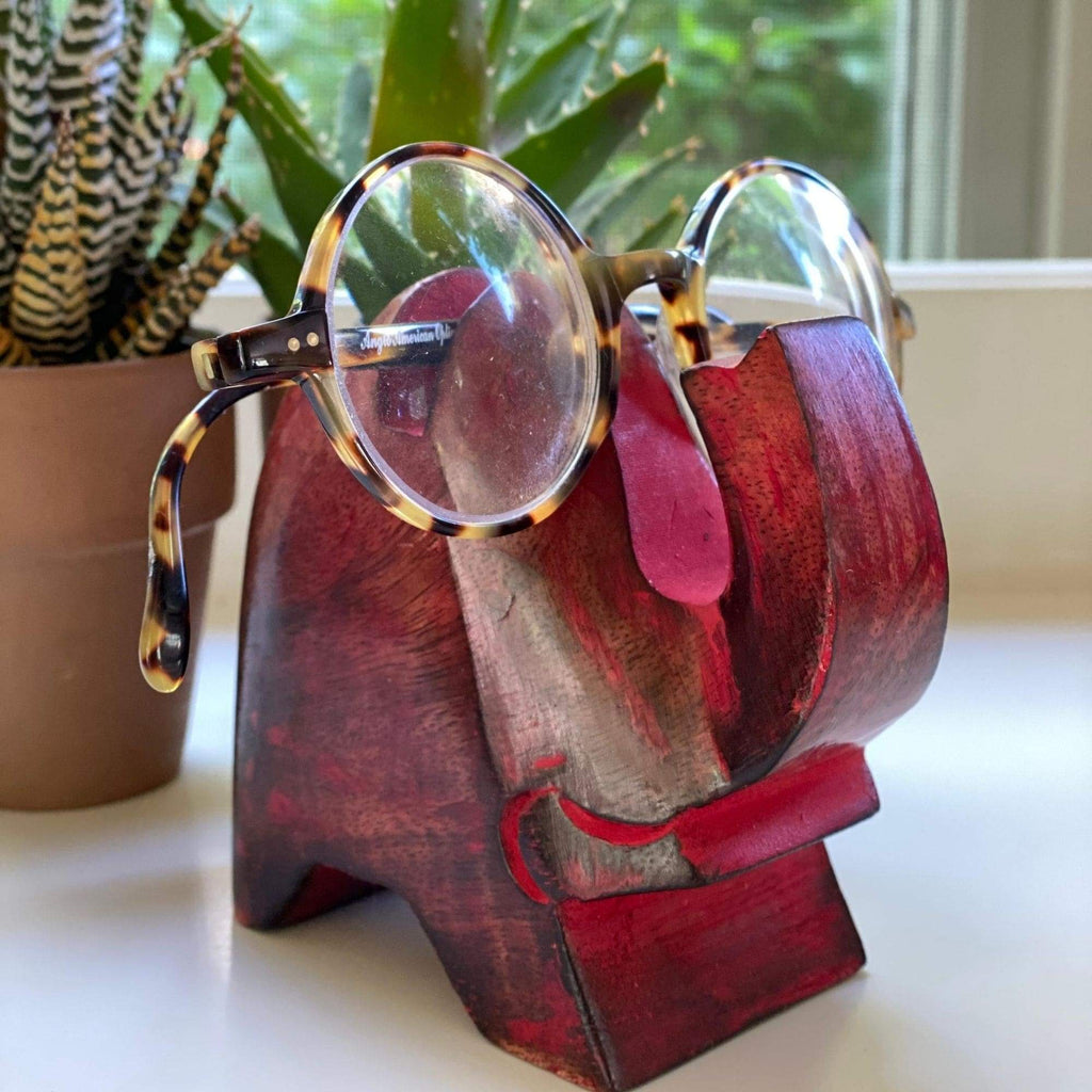 Elephant Eyeglass Stand in Red Wash - India