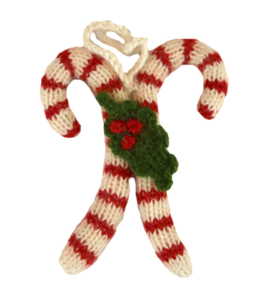 Alpaca Candy Cane With Holly Ornament - Peru