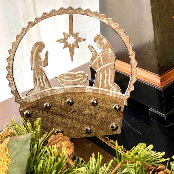 Mango Wood Tabletop Nativity Silhouette - India