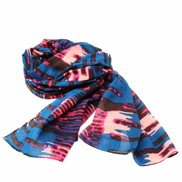 Hand-printed Cotton Scarf Abstract Design - India