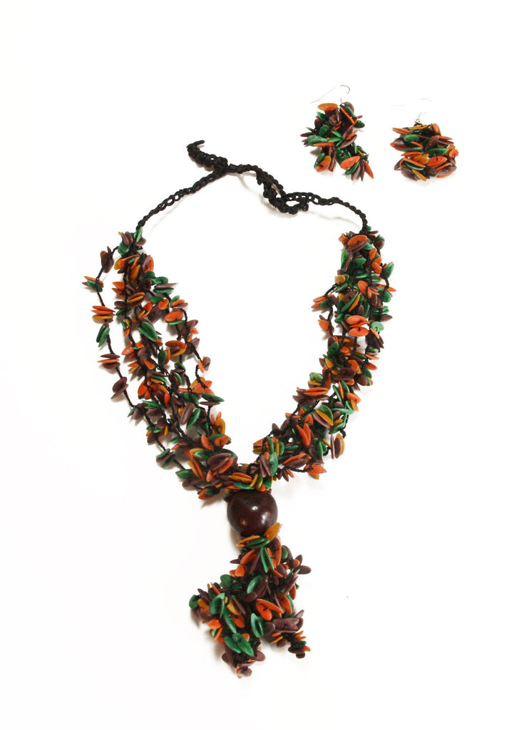 Earth Long Melon Seed Necklace and Earring Set - Colombia