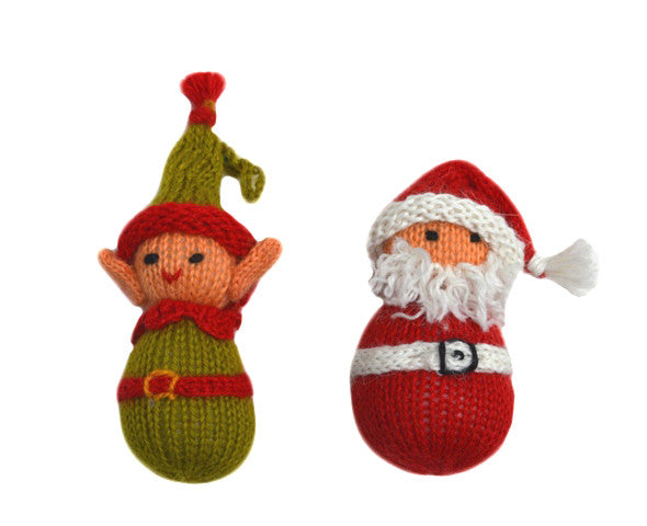 Alpaca Santa and Elf Ornament Set - Peru