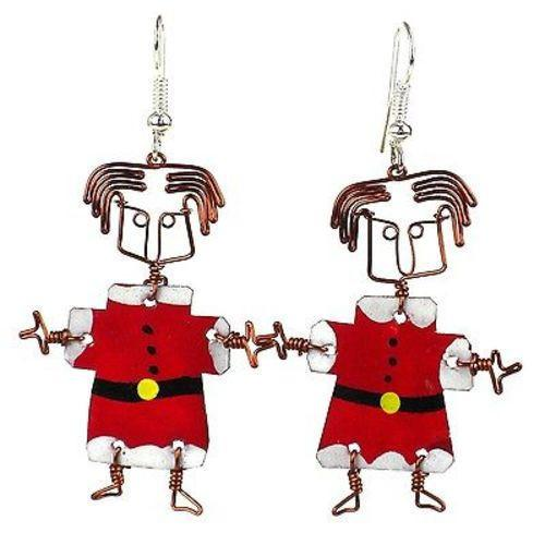 Set of 10 Dancing Girl Santa Earrings - Kenya