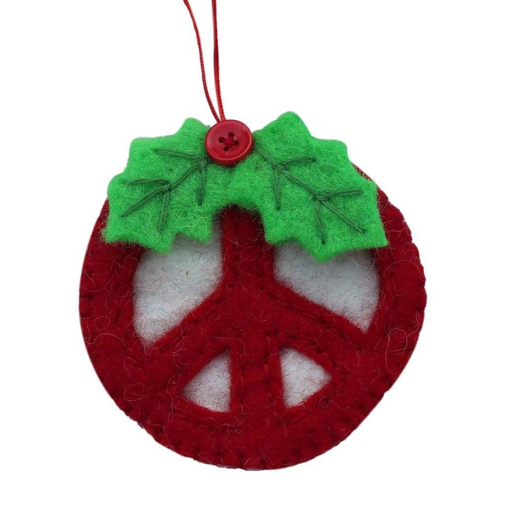 Red Peace Sign Ornament - Nepal