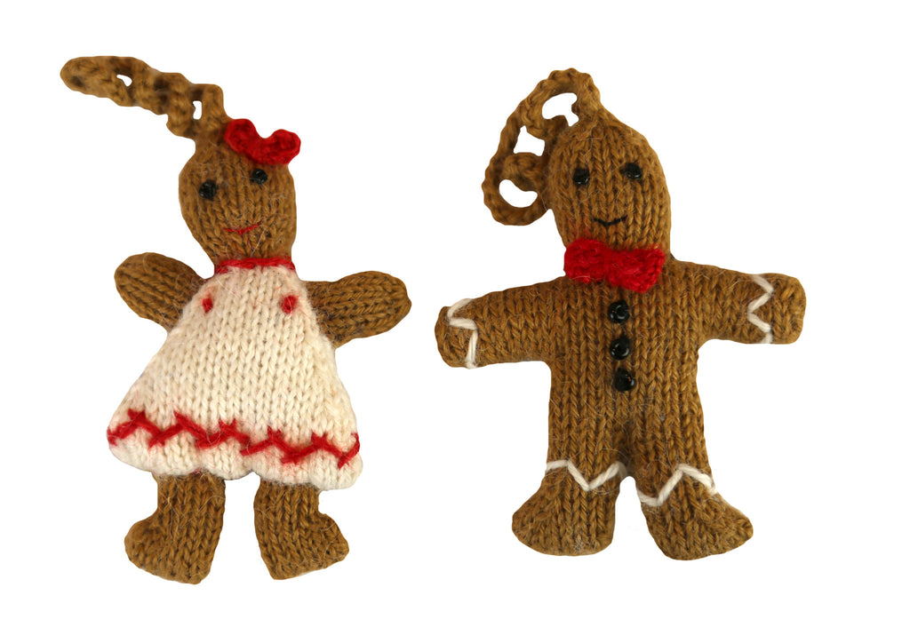 Alpaca Gingerbread Couple Ornament Set of 2 - Peru
