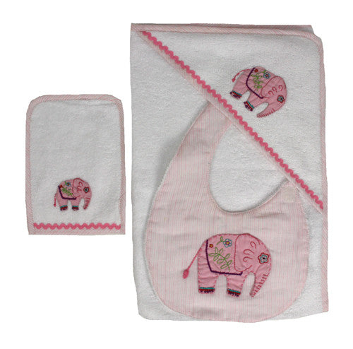 Baby Girl Elephant Towel Set with Bib - India