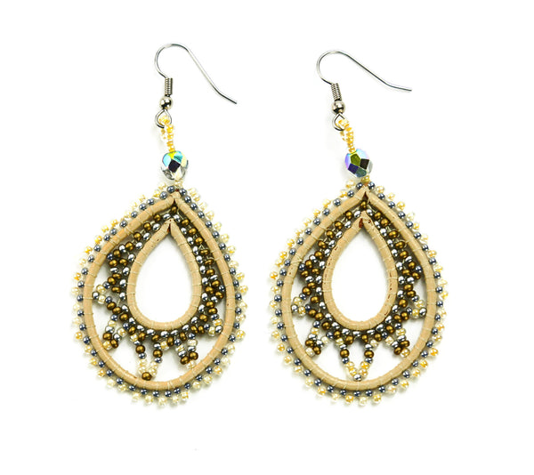 Gold and Silver Leather Teardrop Beaded Earrings - Guatemala