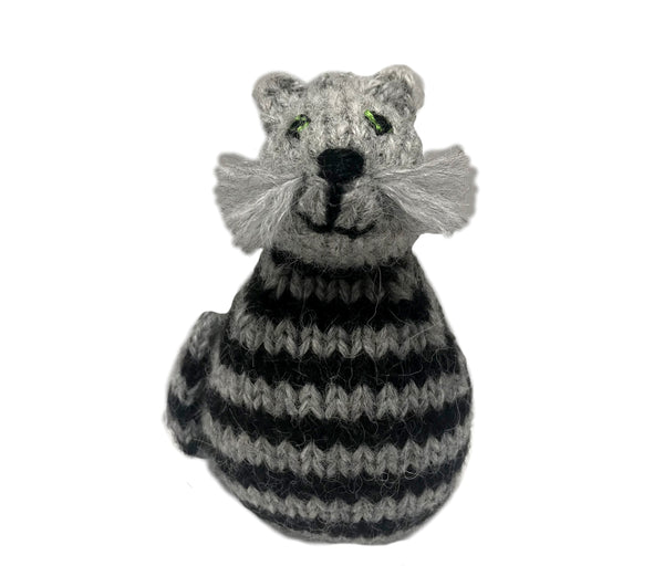 Alpaca Gray Tabby Cat Ornament - Peru