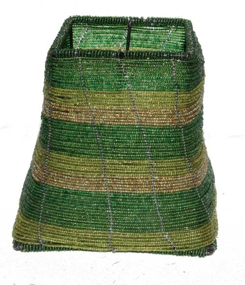 Green and Gold Beaded Lamp Shade  - Kenya