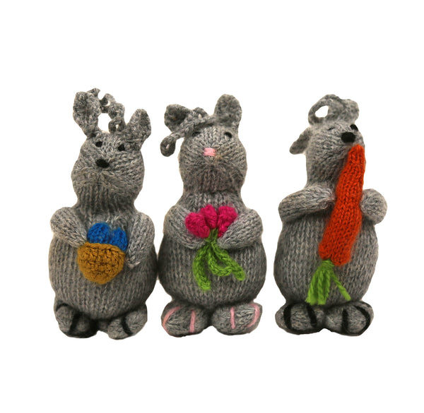 Alpaca Bunny Hippity, Hoppity, Boppity Trio Ornaments - Set of Three - Peru