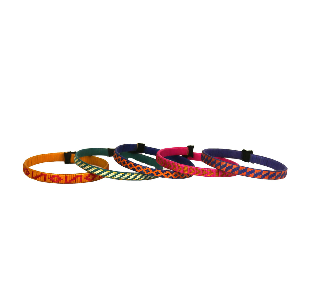 It's a Colorful World Multi Colored Cana Flecha Bracelets - Set of 5 - Colombia