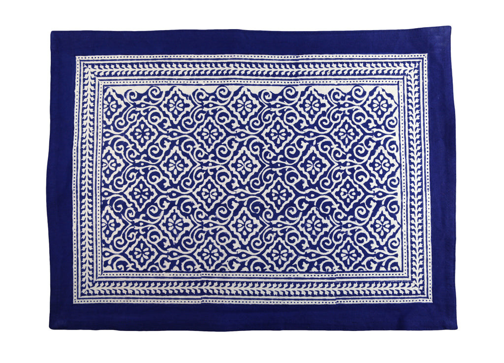 Blue Jaipur Hand Block Printed Placemat Napkin Set of 4 - India