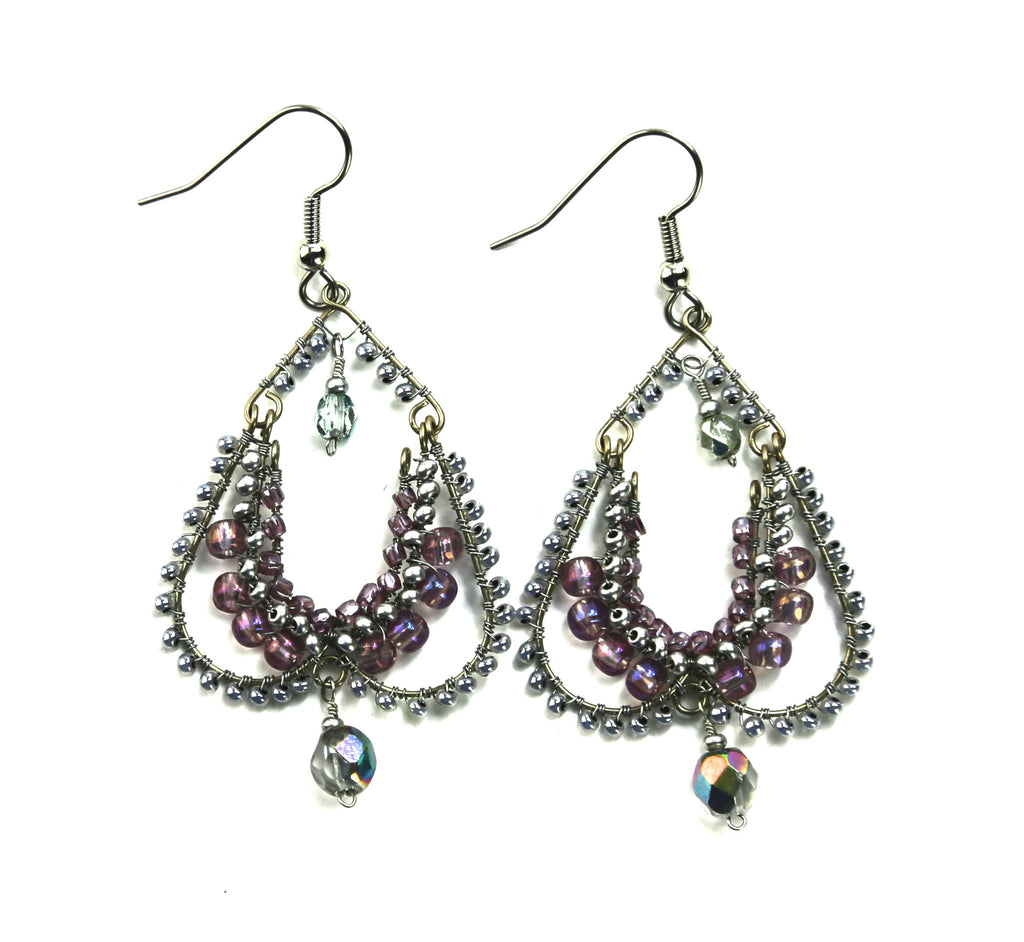 Lilac Elizabethan Beaded Earrings - Guatemala