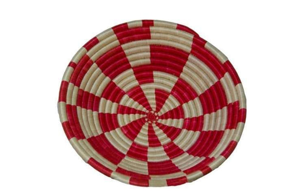 Large Red White Checker Sisal Basket - Rwanda