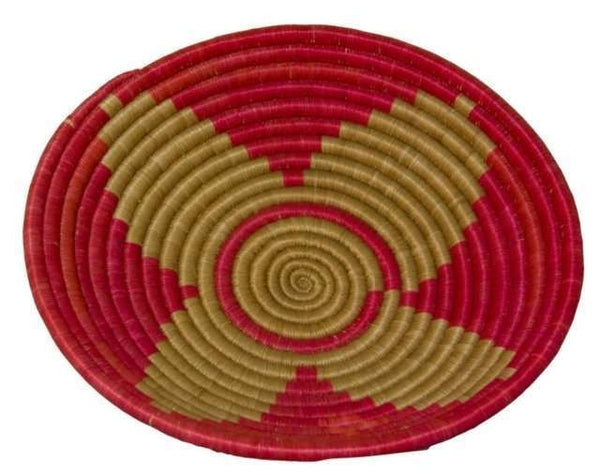 Large Red Tan Star Basket - Rwanda