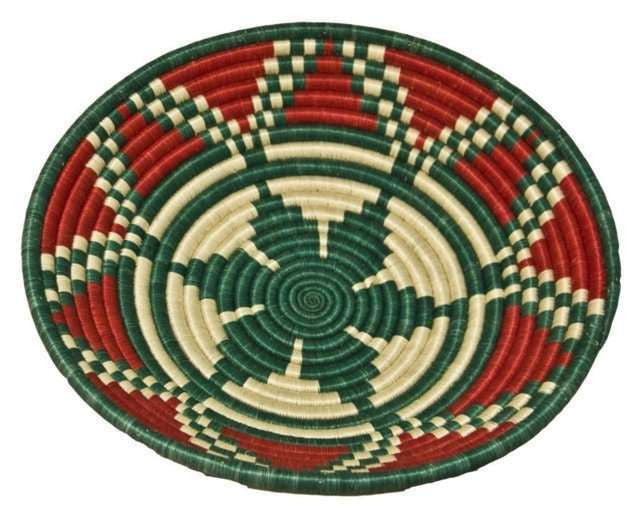 Large Green Red Sisal Basket - Rwanda