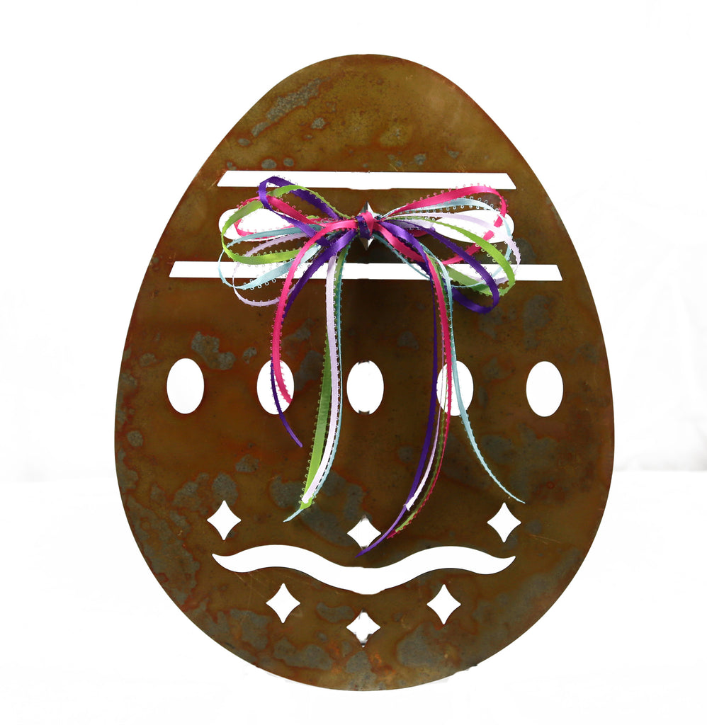 Rusted Patina Metal Egg Decoration