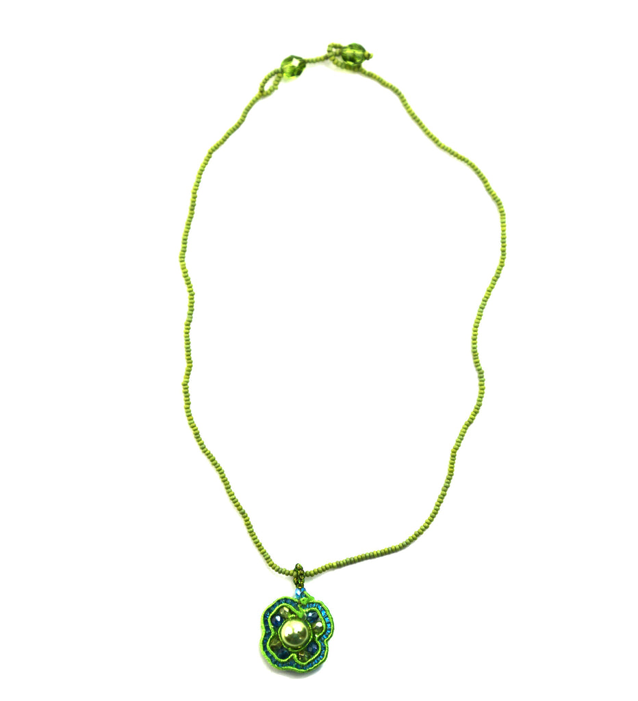 Beaded Mosaic Four Leaf Clover Necklace - Green - Guatemala