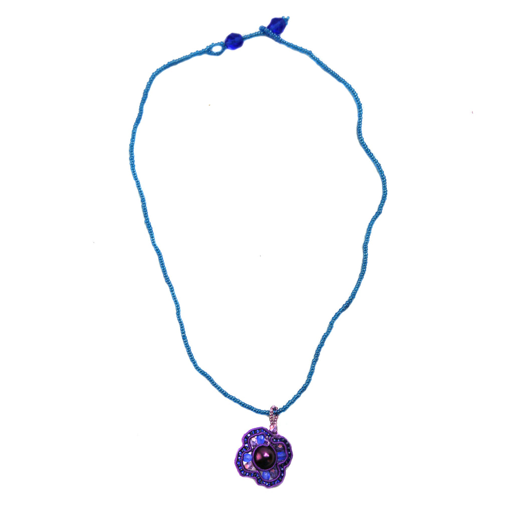 Beaded Mosaic Four Leaf Clover Necklace - Purple - Guatemala