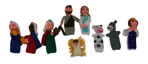 Nativity Set of 9 Finger Puppets - Peru