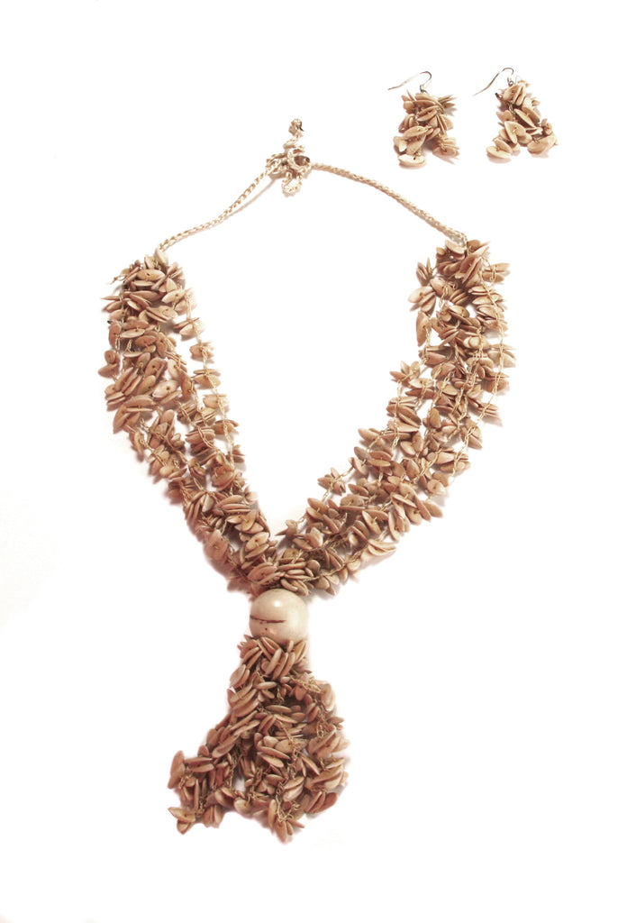 Cream Neutral Long Melon Seed Necklace and Earring Set - Colombia