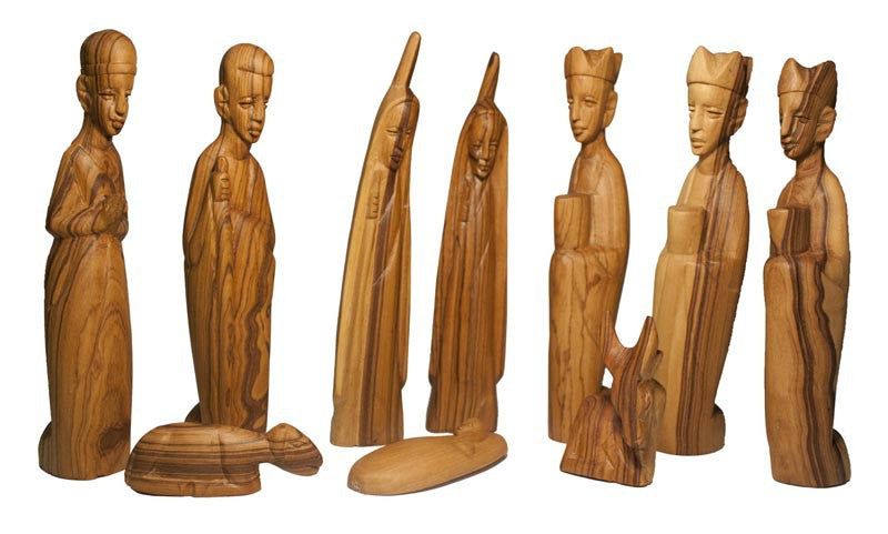Olive Wood Carved Nativity - Rwanda
