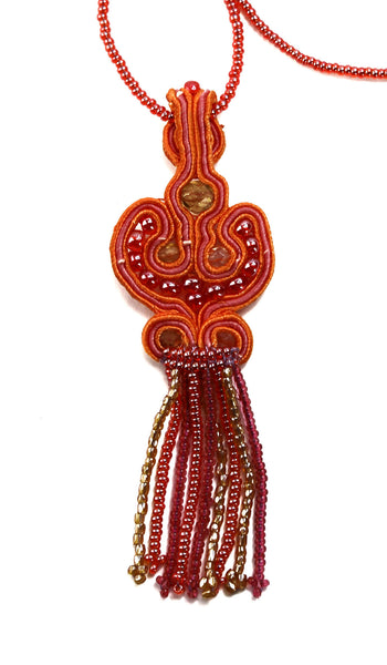 Orange and Peach Beaded Mosaic Fringe Necklace - Guatemala