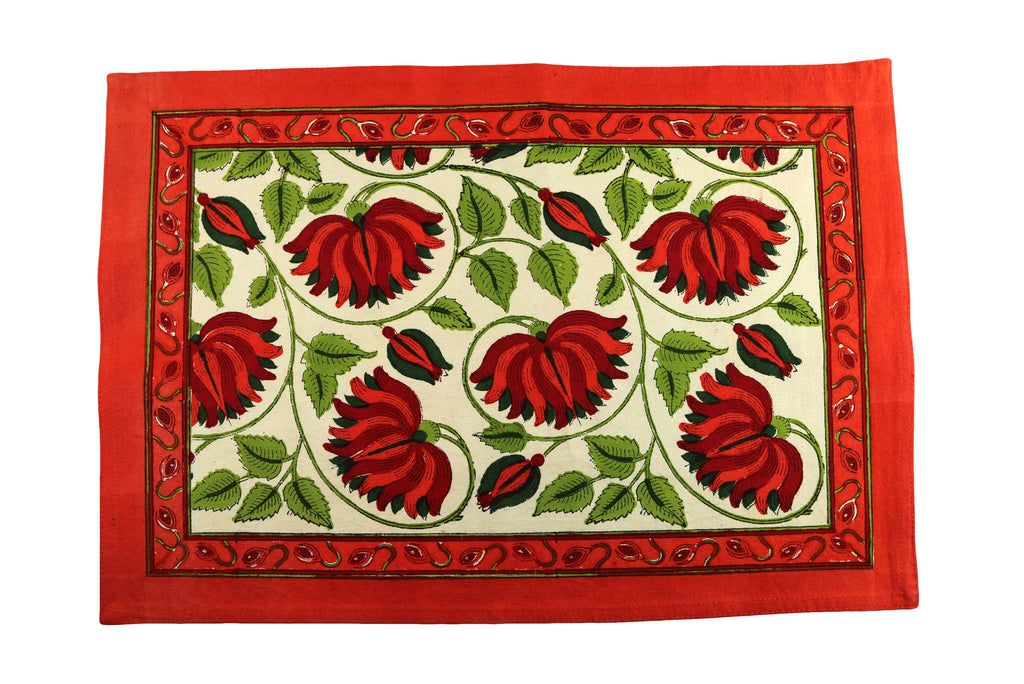 Orange Poppies Hand Block Printed Placemat Napkin Set of 2 - India