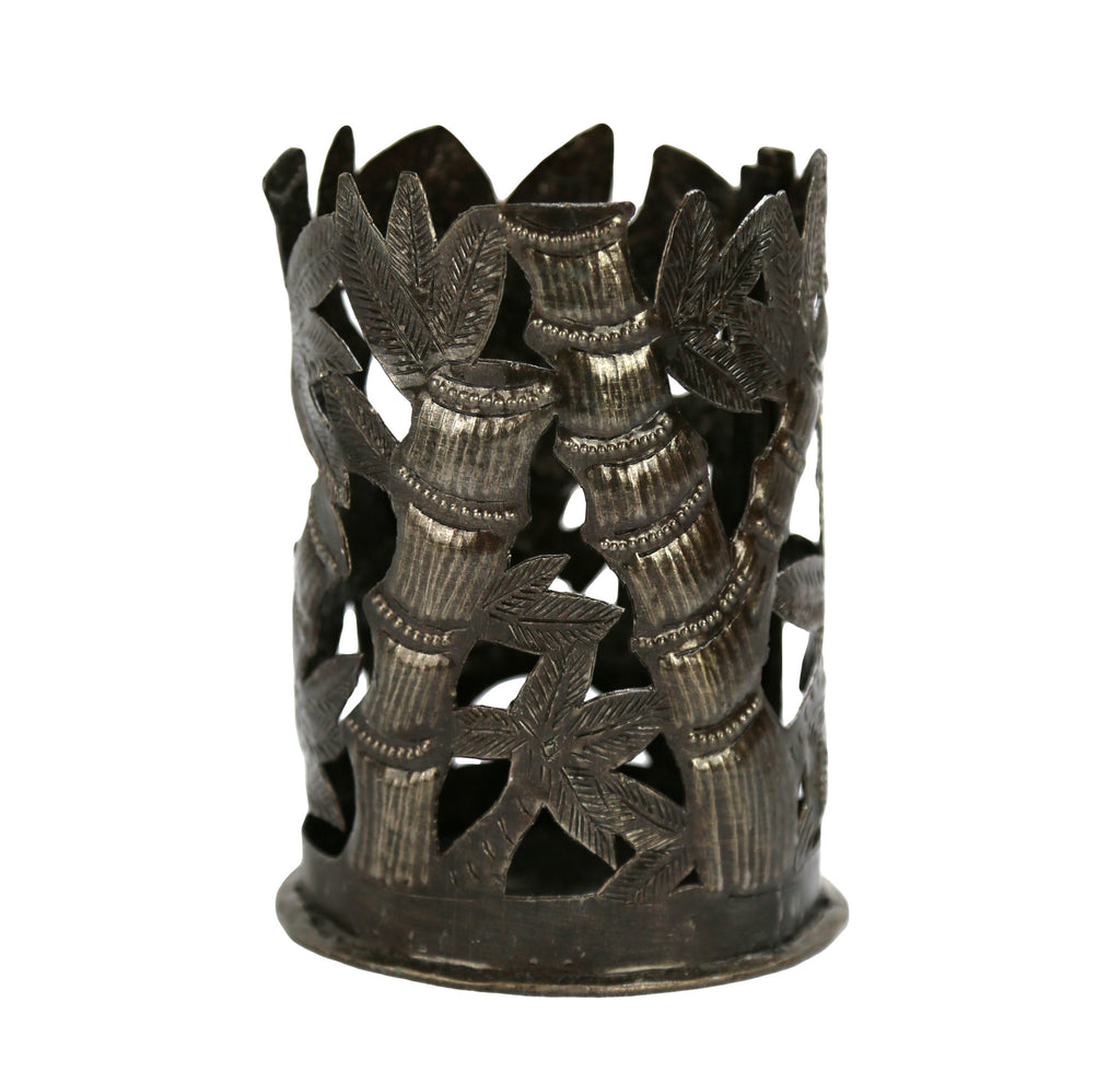 Bamboo Large Metal Votive - Haiti