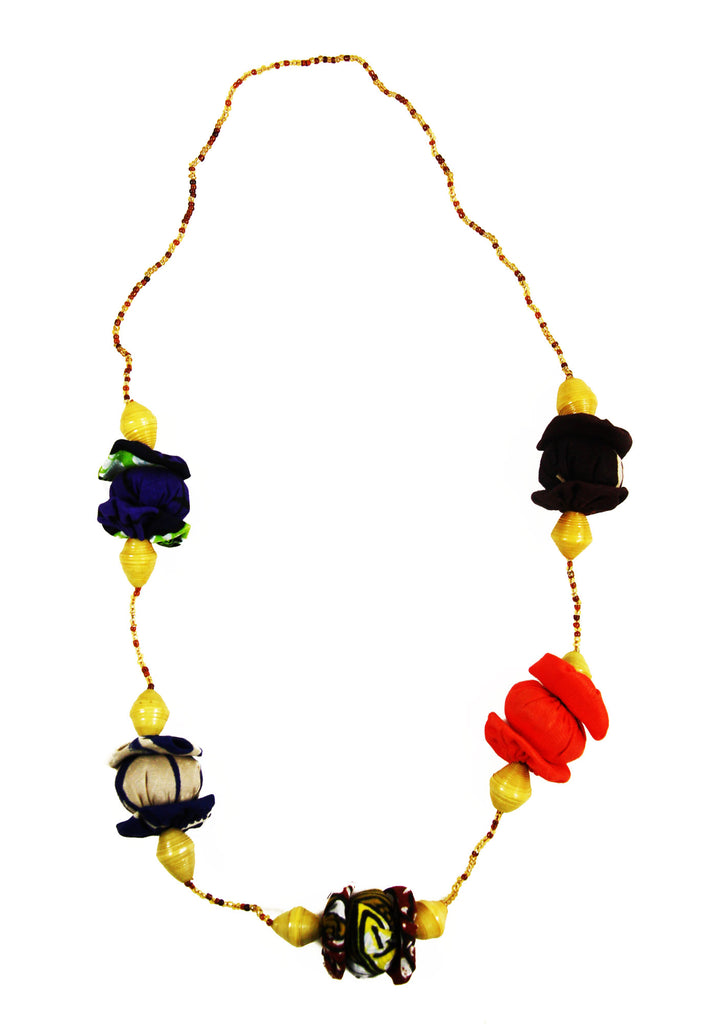 Kitenge Fabric Bead Necklace with Paper Beads - Rwanda