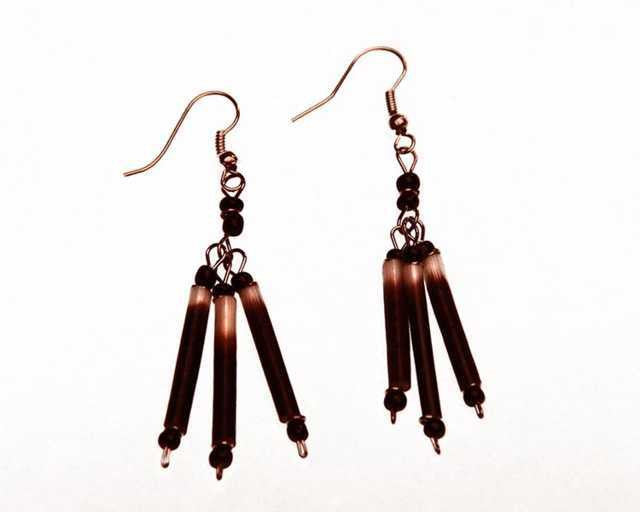 Aluminum and Porcupine Quill Earrings - Kenya